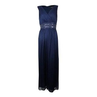 R&M Richards Women's Glitter Embellished Empire Waist Gown