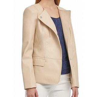 DKNY Women's Jacket Cream Beige Size XL Button Front Zipper Trim
