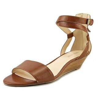Nine West 7 Villian Women  Open Toe Leather Tan Wedge Heel