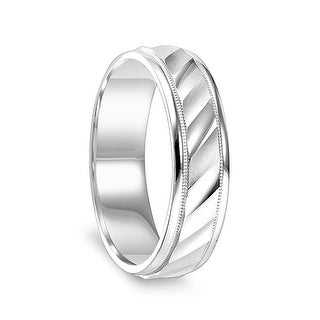 14k White Gold Satin Finished Milgrain Women S Wedding Ring With Diagonal Cuts Polished Edges 4mm