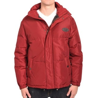 Valentino Men Hooded Parka Jacket Red