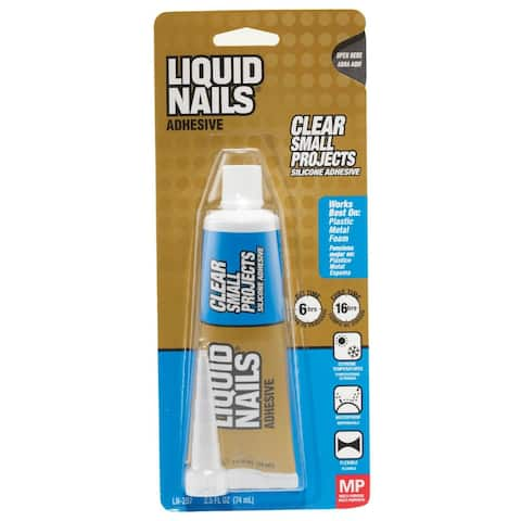 Liquid Nails LN-207 Clear Small Projects Silicone Adhesive, 2.5 Oz
