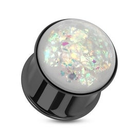 Synthetic Opal Black IP Double Flared Plug 316L Surgical Steel (Sold Individually)