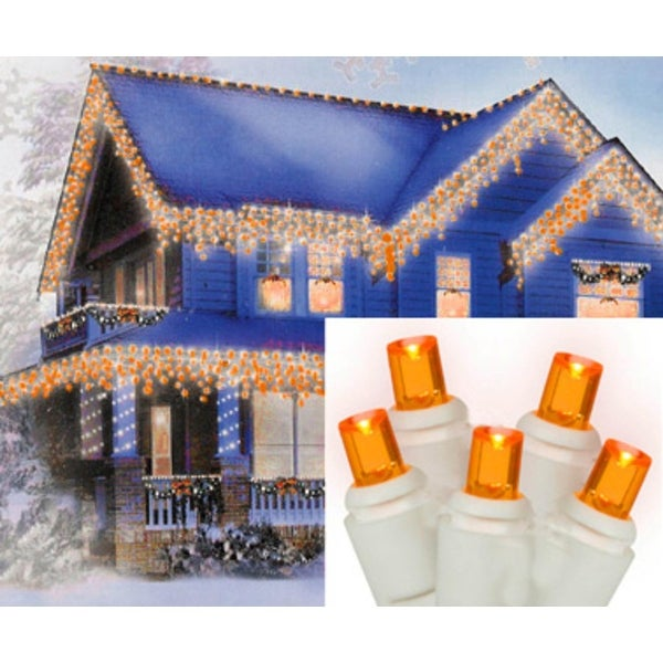 Set of 70 Amber-Orange LED Wide Angle Icicle Christmas Lights - White Wire