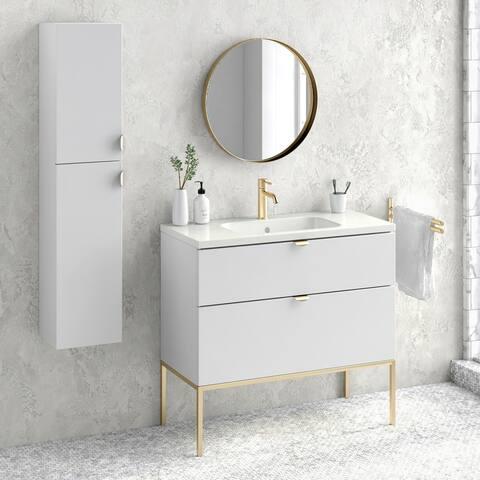 """40"""" Modern Bathroom Vanity Cabinet Set Aspen RHD White Wood Gold Handles and Legs Vanity + Ceramic Top Sink"""