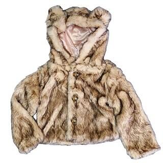 Girls Crystal Fox Critter Ears Button Closure Faux Fur Hood Jacket 6-12