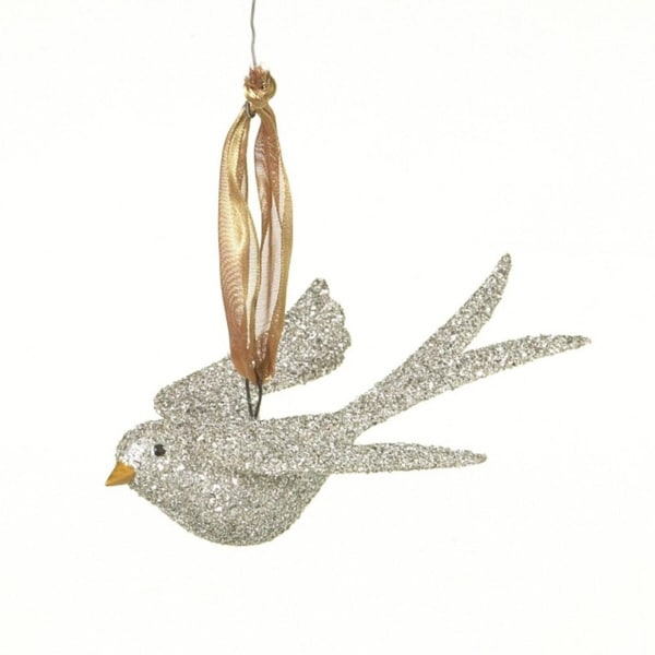 """5.5"""" Silent Luxury Glitter Drenched Silver Flying Bird Christmas Ornament"""