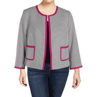 Nine West Womens Plus Jacket Tweed Office Wear