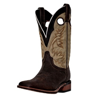 Laredo Western Boots Mens Stockman Collared Sq Toe Dark Brown Tan 7886