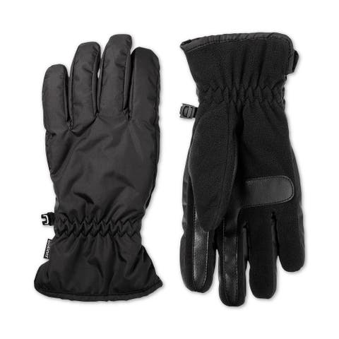Isotoner Men's Black Size XL Fleece Palm Touch Screen Winter Gloves