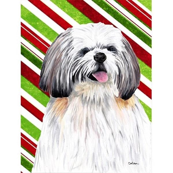 Shih Tzu Candy Cane Holiday Christmas Canvas Flag - House Size,