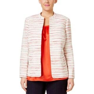 Kasper Womens Plus Citrus Grove Collarless Blazer Tweed Striped - 18W