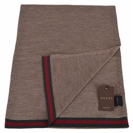 New Gucci Men's 327377 Brown Wool Red Green Web Trim Scarf Muffler