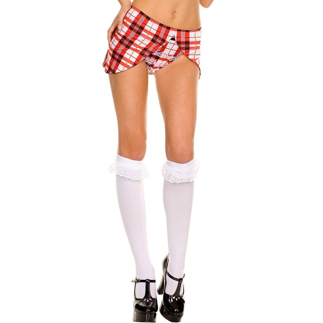 Opaque Knee Highs with Ruffle Lace Trim School Girl Knee High Socks - White/White - One Size Fits Most