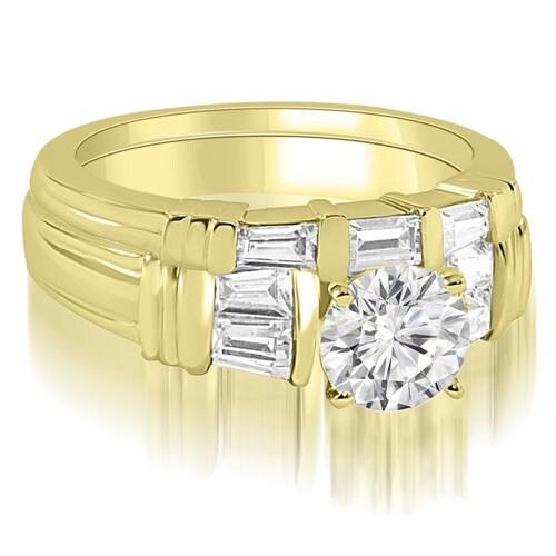 1.05 cttw. 14K Yellow Gold Antique Round Cut Baguette Diamond Bridal Set