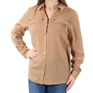 Womens Brown Cuffed Collared Casual Button Up Top Size M