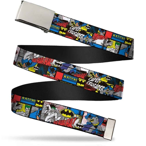 Blank Chrome Buckle Batman & Joker Comic Blocks Webbing Web Belt