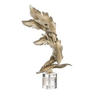 """26.5"""" Champagne Silver Falling Leaves Statue on a Crystal Base - N/A"""