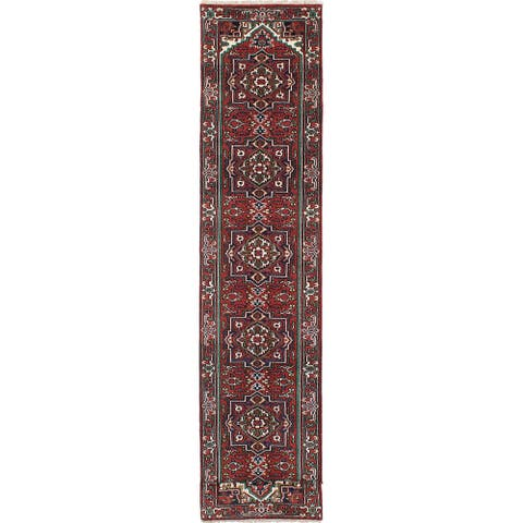 """ECARPETGALLERY Hand-knotted Serapi Heritage Copper, Navy Wool Rug - 2'7"""" x 19'9"""" Runner"""
