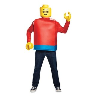 Mens Classic Lego Guy Halloween Costume - standard - one size