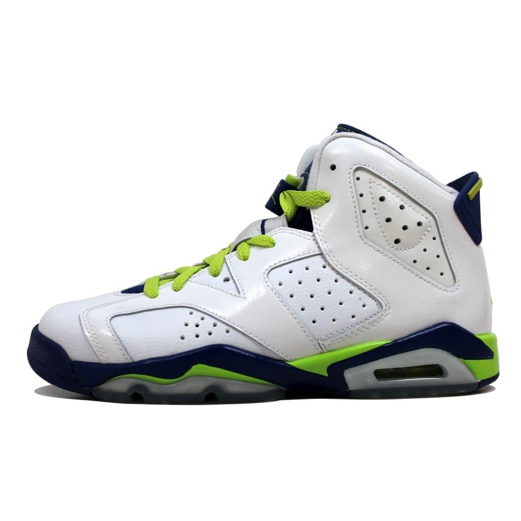 new style 69028 2a404 Nike Grade-School Air Jordan VI 6 Retro White/Fierce Green-Deep Royal  Blue-Hyper Pink Seahawks 543390-108 Size 7Y