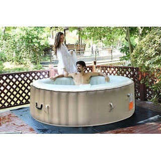 costway portable inflatable bubble massage spa hot tub 6 person relaxing outdoor
