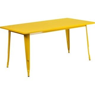 Brimmes Rectangular 31.5'' x 63'' Yellow Metal Table for Patio/Bar
