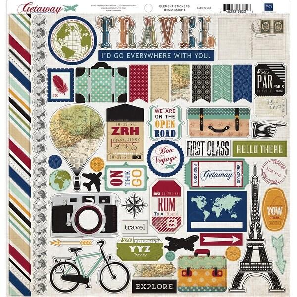 """Getaway Cardstock Stickers 12""""X12""""-Element"""