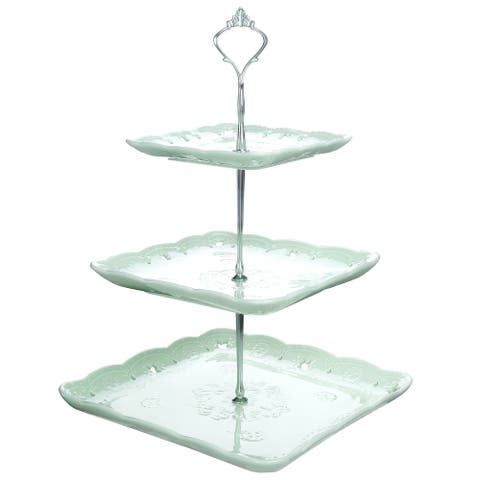 MALACASA, Series Sweet.Time, 3-Tier Cupcake Tower Stand Porcelain Green Tiered Serving Stand - 8' x 10'