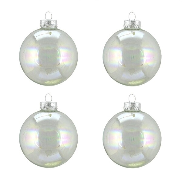 """4ct Shiny Clear Iridescent Glass Ball Christmas Ornaments 2.5"""" (65mm)"""