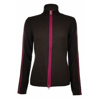Sutton Studio Women's 100% Cashmere Tipped Jacket - black/ruby