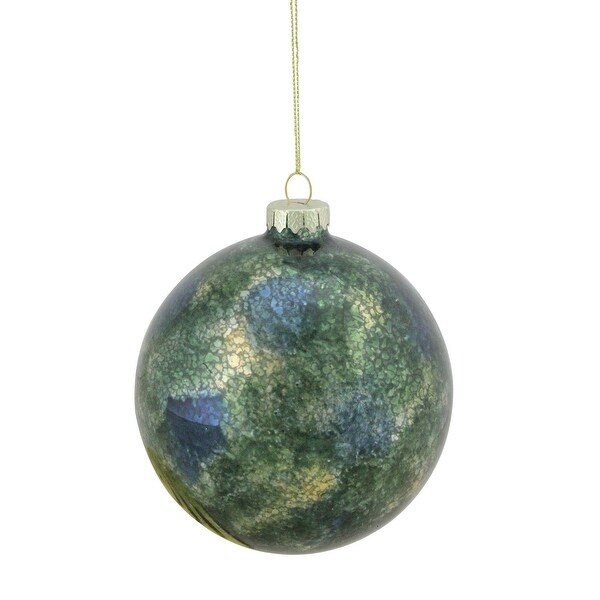 "Regal Peacock Mercury Glass Green Christmas Ball Ornament 4.75"" (120mm)"