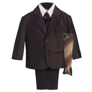 Baby Boys Brown Two-button Herringbone Pattern Special Occasion Suit 6-24M