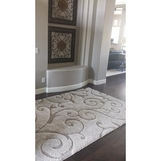 Safavieh Florida Shag Scrollwork Elegance Cream/ Beige Rug (6' x 9')