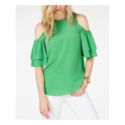 MICHAEL KORS Womens Green Short Sleeve Blouse Top Size 2XS