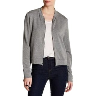 H By Bordeaux NEW Gray Womens Size Medium M Full-Zip Bomber Jacket