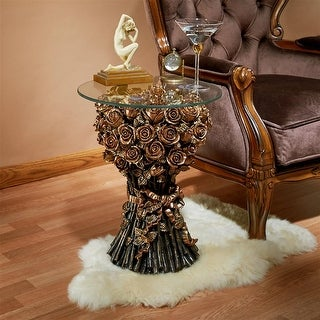 Design Toscano Table of Roses Glass-Topped Sculptural Table
