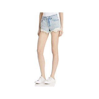Free People Womens Daisy Cutoff Shorts Denim Lace Inset