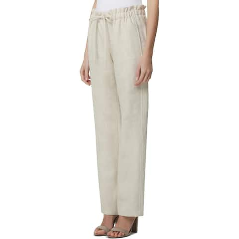 Tahari ASL Womens Petites Paperbag Pants Drawstring Linen - Light Natural - 6P