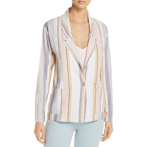 Three Dots Womens One-Button Blazer Striped Layering - Multi-color