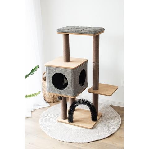 """PetPals ELEVATE - 3 LVL,BGE/BRW, CAT TREE W/CONDO,18x15x41"""" - Beige"""