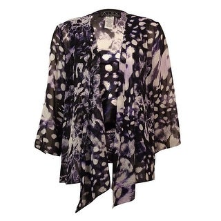 Alex Evenings Women's 2PC Printed Chiffon Blouse Set - Black/Purple - m