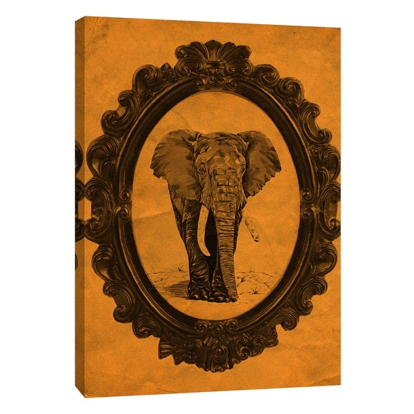 "PTM Images 9-105883 PTM Canvas Collection 10"" x 8"" - ""Framed Elephant in Tangerine"" Giclee Elephants Art Print on Canvas"
