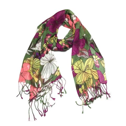 Women's Fashion Floral Soft Wraps Scarves - F10 Olive - Large