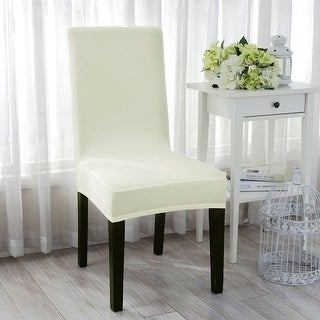 Stretch Washable Dining Stool Chair Cover Protector Seat Slipcover White