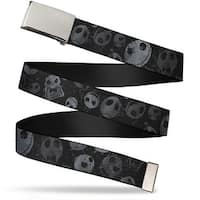 "Blank Chrome 1.0"" Buckle Nightmare Before Christmas Jack Expressions Web Belt 1.0"" Wide - S"