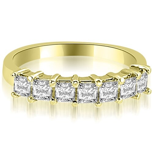 0.70 cttw. 14K Yellow Gold Princess Diamond 7-Stone Prong Wedding Band