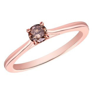 Prism Jewel 0.24Ct Round Cut Brown Natural Color Diamond Solitaire Ring