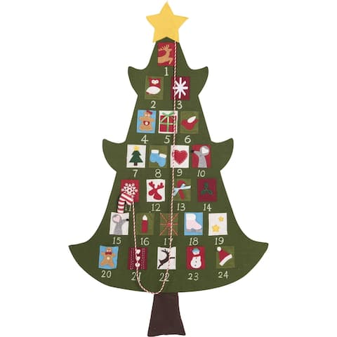 """52"""" Green Christmas Tree with Star Tree Topper Advent Calendar"""