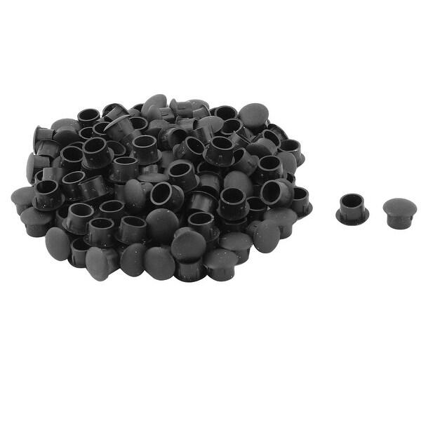 Household Furniture Plastic Round Design Screw Cap Cover Lid Black 130pcs